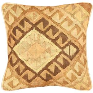 eCarpetGallery Handmade Ottoman Kilim Beige/Brown Wool Flat Weave Cushion Cover (1'5 x 1'5)