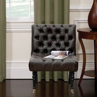 white leather slipper chair how to make a bean bag out of old clothes buy living room chairs online at overstock chic home hendrix and solid oak armless button tufted accent with front
