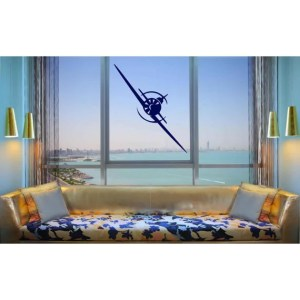 The plane flies in the window Wall Art Sticker Decal Blue