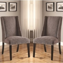 Upholstered Chair With Nailhead Trim Pre K Tables And Chairs Shop Decatur Wing Back Design Grey Set Of 2