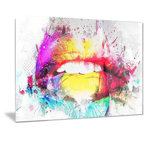 Shop Designart Vibrant Lips Sensual Metal Wall Art On Sale Free ...