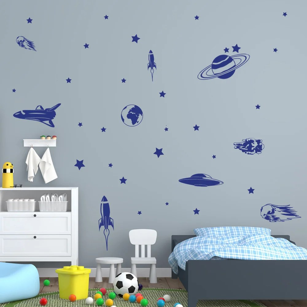 Style and Apply Vinyl Wall Decal Stickers Space Journey Set