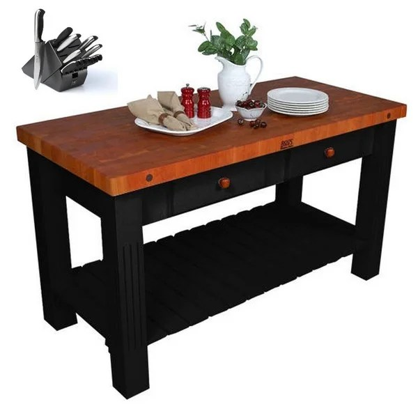 john boos kitchen island wall art for the shop 60 inch x 28 with cherry butcher block top