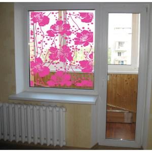 Flowers in the window Wall Art Sticker Decal Pink