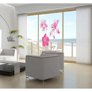 Window flowers leaves plant orchid Wall Art Sticker Decal Pink