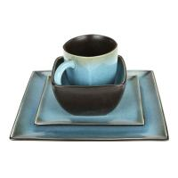 Shop Haus Earthtone Blue Stoneware 16-piece Square ...