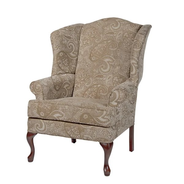 accent wingback chairs baby to help sit up shop elaina cream paisley print chair by greyson living free shipping today overstock com 11923705