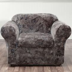Sure Fit Stretch Metro 1 Piece Sofa Slipcover Gray Country Furniture 2 Plush Tye-dye Chair Cover - Free ...