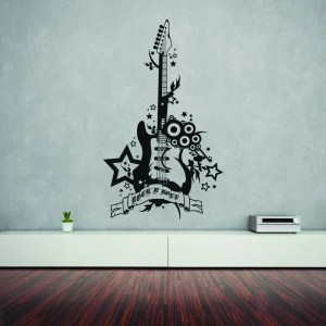 Style and Apply Rock 'n' Roll Guitar Black Vinyl Removable Wall Decal