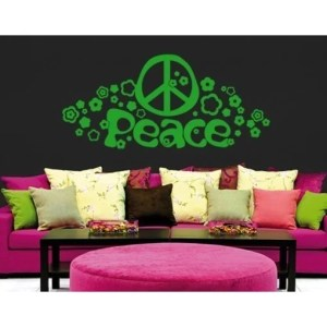 Style & Apply Peace and Love Greeen Vinyl Removable Wall Decal