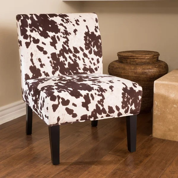 cowhide print accent chair brown leather office shop saloon fabric (set of 2) by christopher knight home - free shipping ...