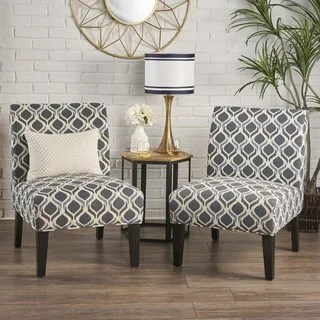 fabric living room chairs oak floors buy modern contemporary online at overstock com saloon print accent chair by christopher knight home set of 2