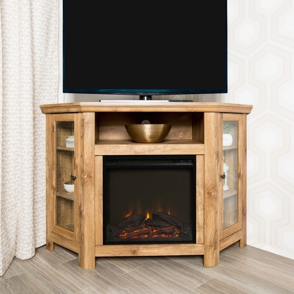 Barnwood 48inch Corner Fireplace TV Stand  Free Shipping Today  Overstock  18870158