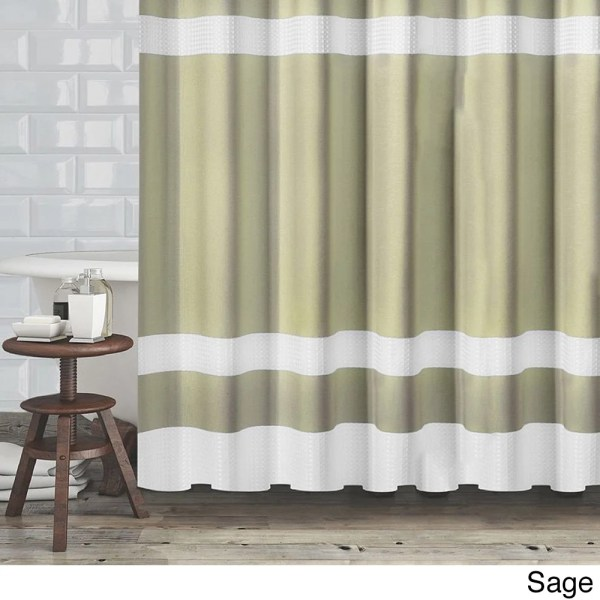 Hotel Quality Fabric Shower Curtain With White Diamond Weave Textured Stripes