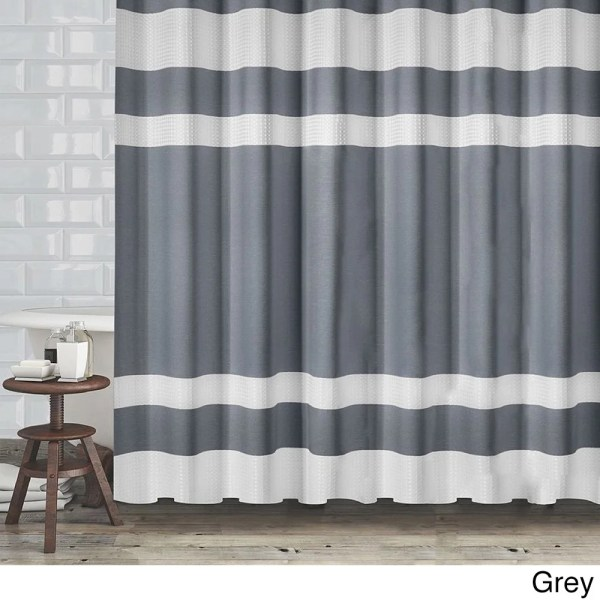 Hotel Quality Fabric Shower Curtain With White Diamond