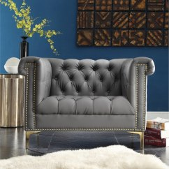 Grey Lounge Chair Sure Fit Slipcovers And A Half Chic Home Winston Chrome/ Leather Button-tufted With Goldtone Nailhead Trim ...