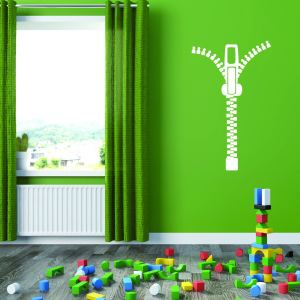 Style and Apply Multicolored Vinyl Zipper Removable Wall Decal