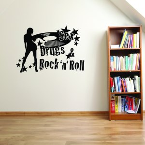 Style & Apply Multicolor Vinyl Rock 'n' Roll Removable Wall Decal