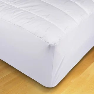 Ecopure Cotton Mattress Pad With Recycled Fiber Fill White