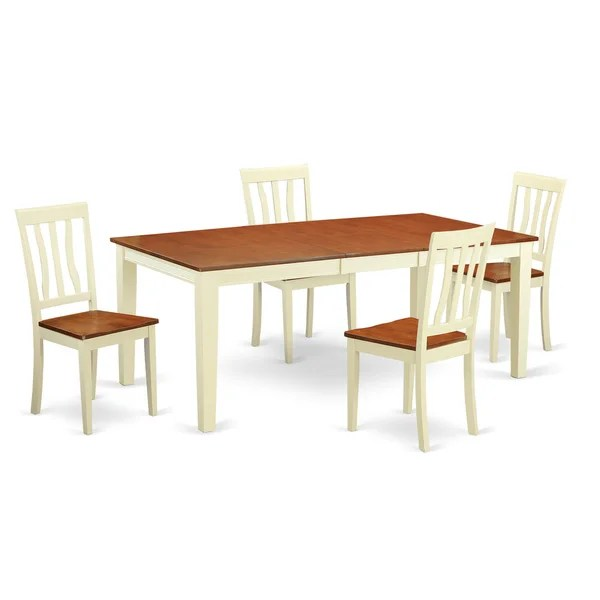 rubberwood butterfly table with 4 chairs christopher knight club chair shop traditional buttermilk and cherry finished solid 5 piece dining set quincy antique free shipping today