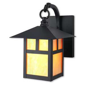 Livex Lighting Montclair Mission Brown Brass 1-light Top-hanging Outdoor Wall Lantern