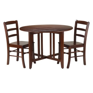 Winsome Alamo Walnut-finish Wood 3-piece Dining Set With Round Drop-leaf Table and Two Ladder-back Chairs