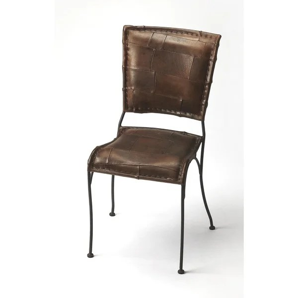 leather side chair gold crushed velvet covers shop butler maverick iron and on sale free shipping today overstock com 12041859