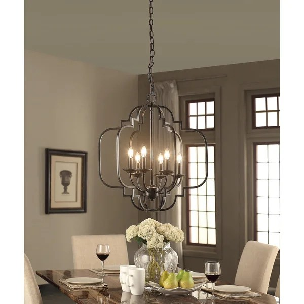 Moroccan 6 Light Dark Bronze Chandelier