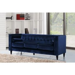 Navy Blue Velvet Sofa Straps To Fix Sofas Shop Meridian Taylor Tufted Modern Free Shipping Today Overstock Com 12046542