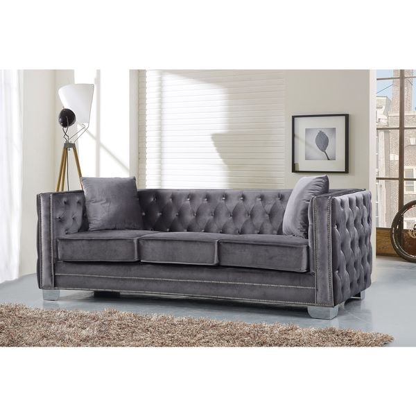 meridian reese grey velvet sofa free shipping today