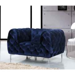 Velvet Tufted Chair Open Back Dining Room Chairs Shop Meridian Mercer Blue Free Shipping Today Overstock Com 12048079