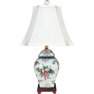 Multicolor Silk/Porcelain Fruit Bouquet Square Jar Lamp