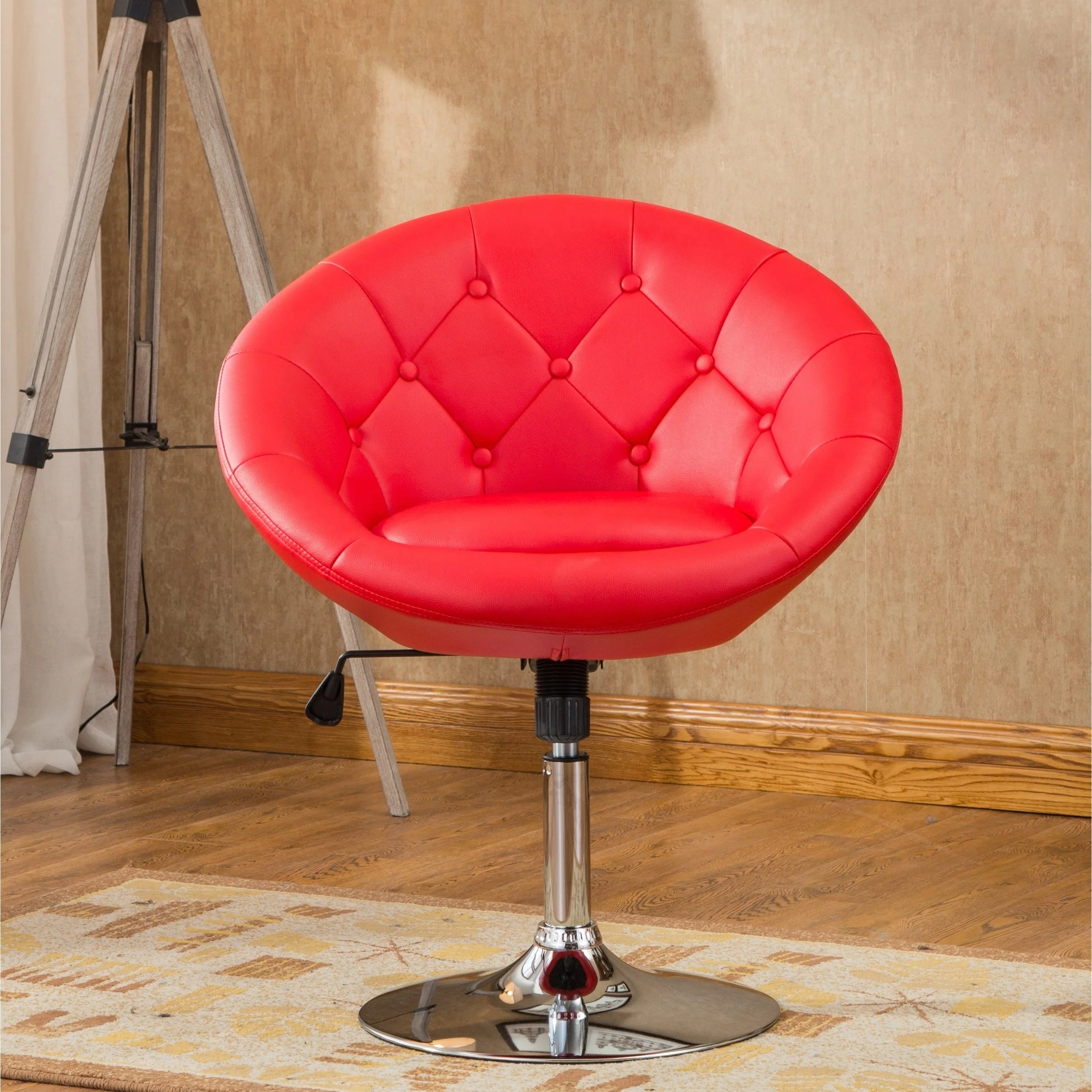 swivel accent chairs ergonomic chair standing roundhill furniture noas contemporary round tufted back