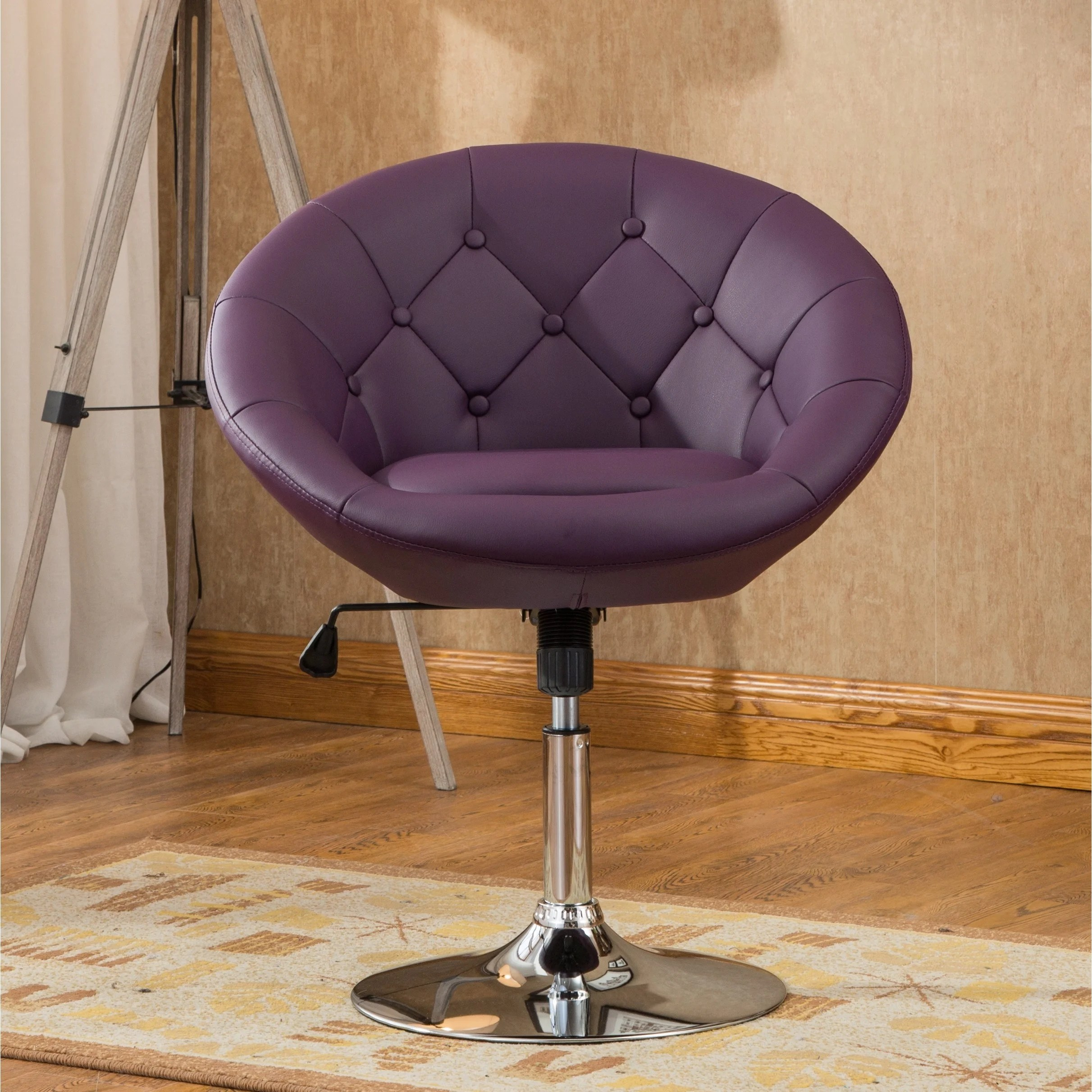 Contemporary Swivel Chairs Roundhill Furniture Noas Contemporary Round Tufted Back