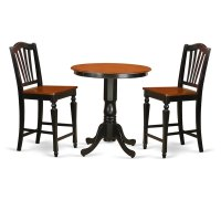 Black Wood 3-piece Counter-height Table and Chair Set ...