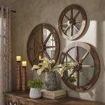 Moravia Round Reclaimed Wood Wagon Wheel Wall Mirror By Inspire Q Artisan Overstock 12070487