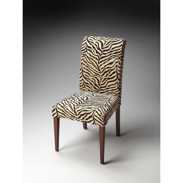 black parsons chair tufted leather dining shop butler and off white zebra print fabric free shipping today overstock com 12072570