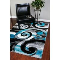 Shop Persian Rugs Modern Trendz Abstract Turquoise/Grey ...