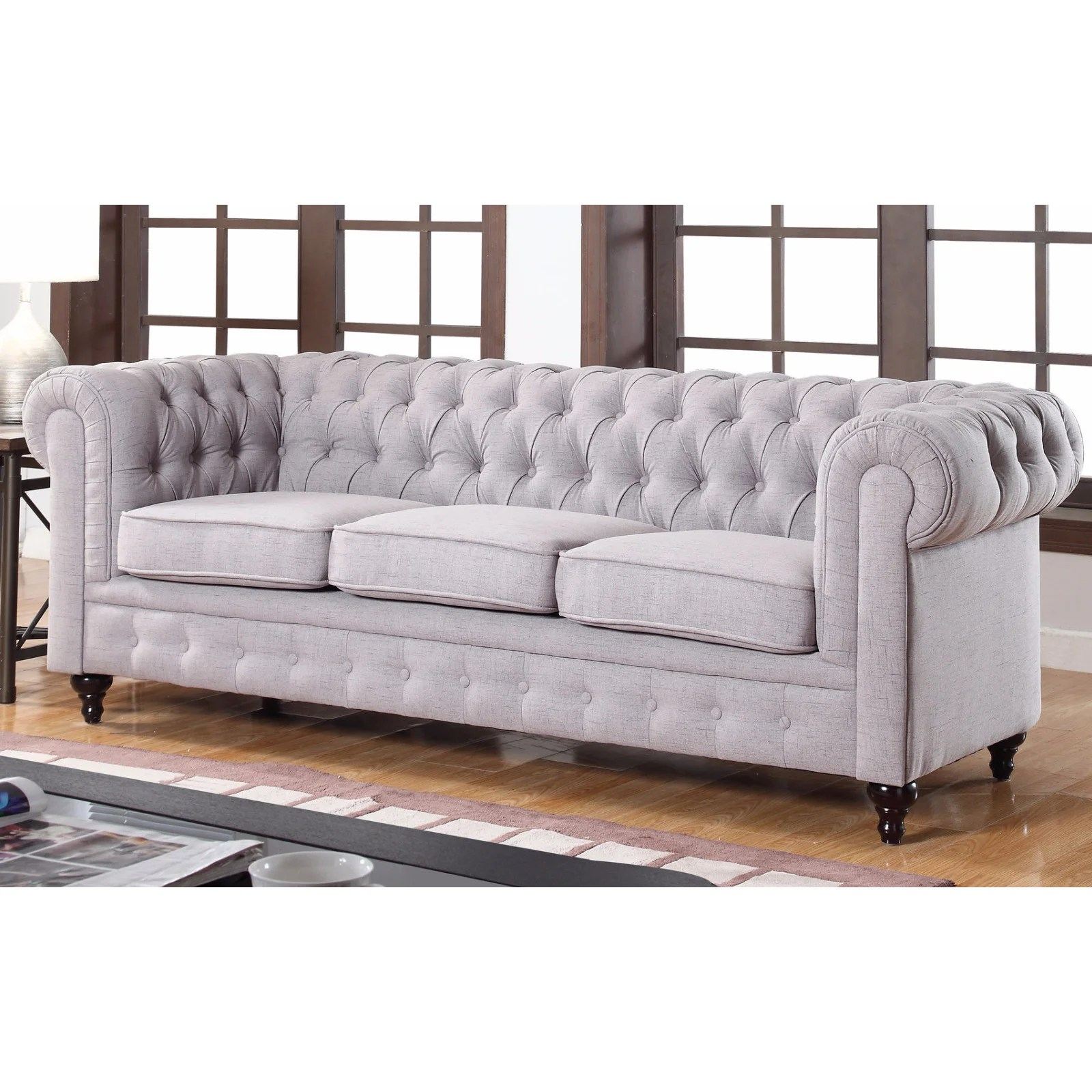 tribecca home knightsbridge beige linen tufted scroll arm chesterfield sofa custom sofas sacramento grey meridian furniture 662gry s