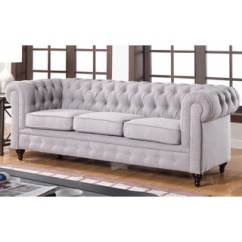 Tribecca Home Knightsbridge Beige Linen Tufted Scroll Arm Chesterfield Sofa High End Leather Sofas Signal Hills ...