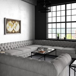 Tufted Linen Sectional Sofa Modern Style Fabric Moser Bay Furniture Garcia U Shaped Ebay