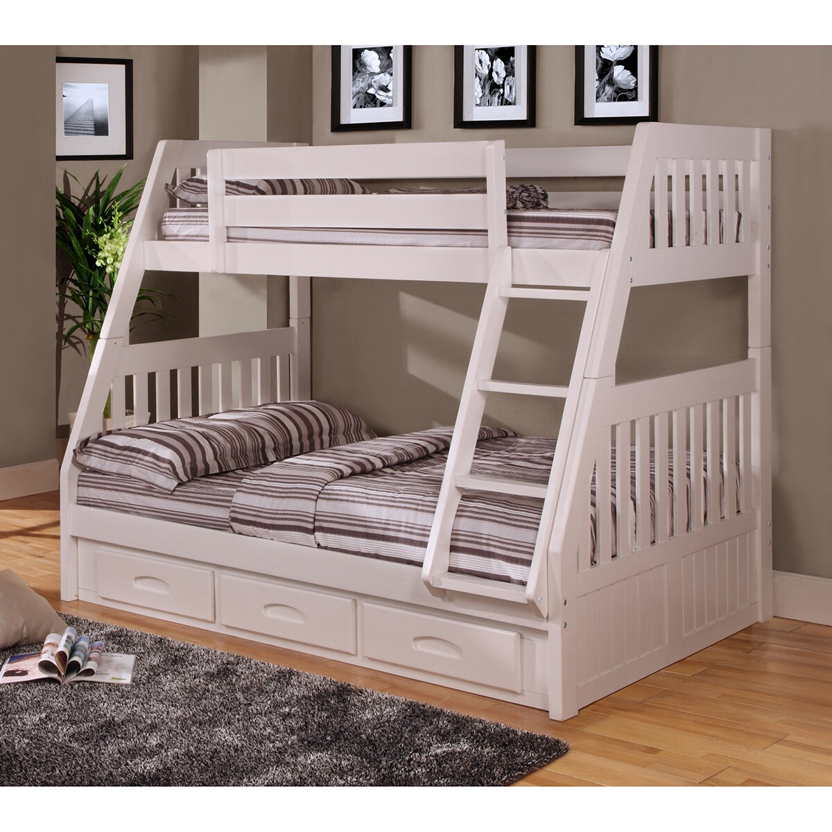 twin over full bunk bed with 3 drawers underneath and bonus desk hutch and chair
