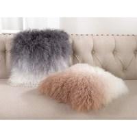 Shop Mongolian Lamb Fur Ombre Throw Pillow - Free Shipping ...