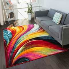 Bright Colored Living Room Rugs Top Rated Paint Colors For Shop Well Woven Modern Waves Abstract Yellow Multi Area Rug 7 X27 10