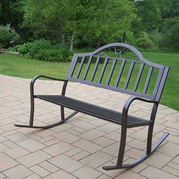 swing chair home town dining covers belfast shop hometown extruded iron rocking bench on sale free shipping today overstock com 12140008