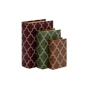 Wood and Vinyl 9-inch, 11-inch, 13-inch Book Box (Set of 3)