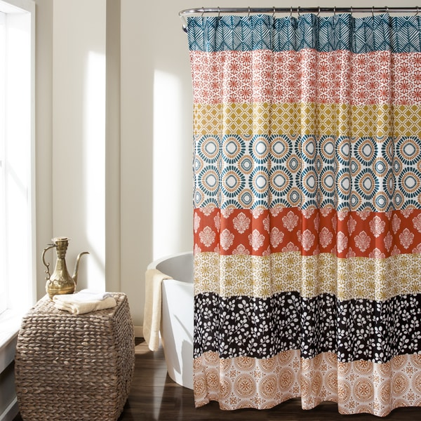 Lush Decor Bohemian Stripe Shower Curtain  Free Shipping