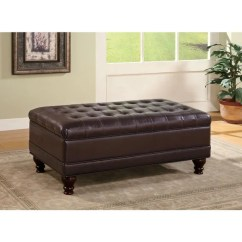Chocolate Brown Leather Sectional Sofa With 2 Storage Ottomans Serta Sleeper Mattress Shop Coaster Company Faux Oversized Ottoman