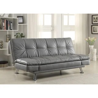 coaster futon sofa bed with removable armrests review sectional reviews 2017 shop company brown vinyl free shipping today dilleston grey in style chrome legs
