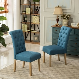 blue kitchen chairs door knobs buy dining room online at overstock com our habit solid wood tufted parsons chair set of 2